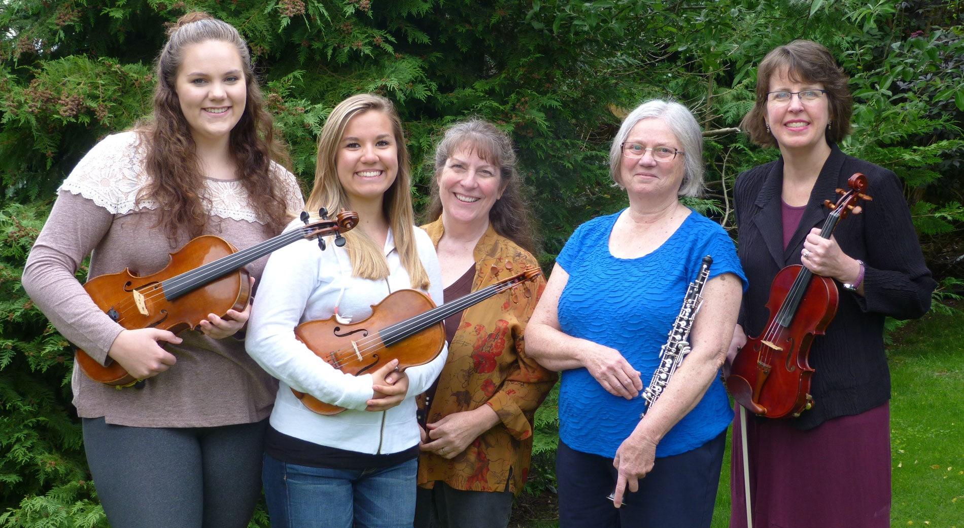 Lauren Waldron, viola; Jasmine Gauthun, violin; Marlene Moore, cello; Jacyln LaRue, oboe; Wendy Clark-Getzin, violin