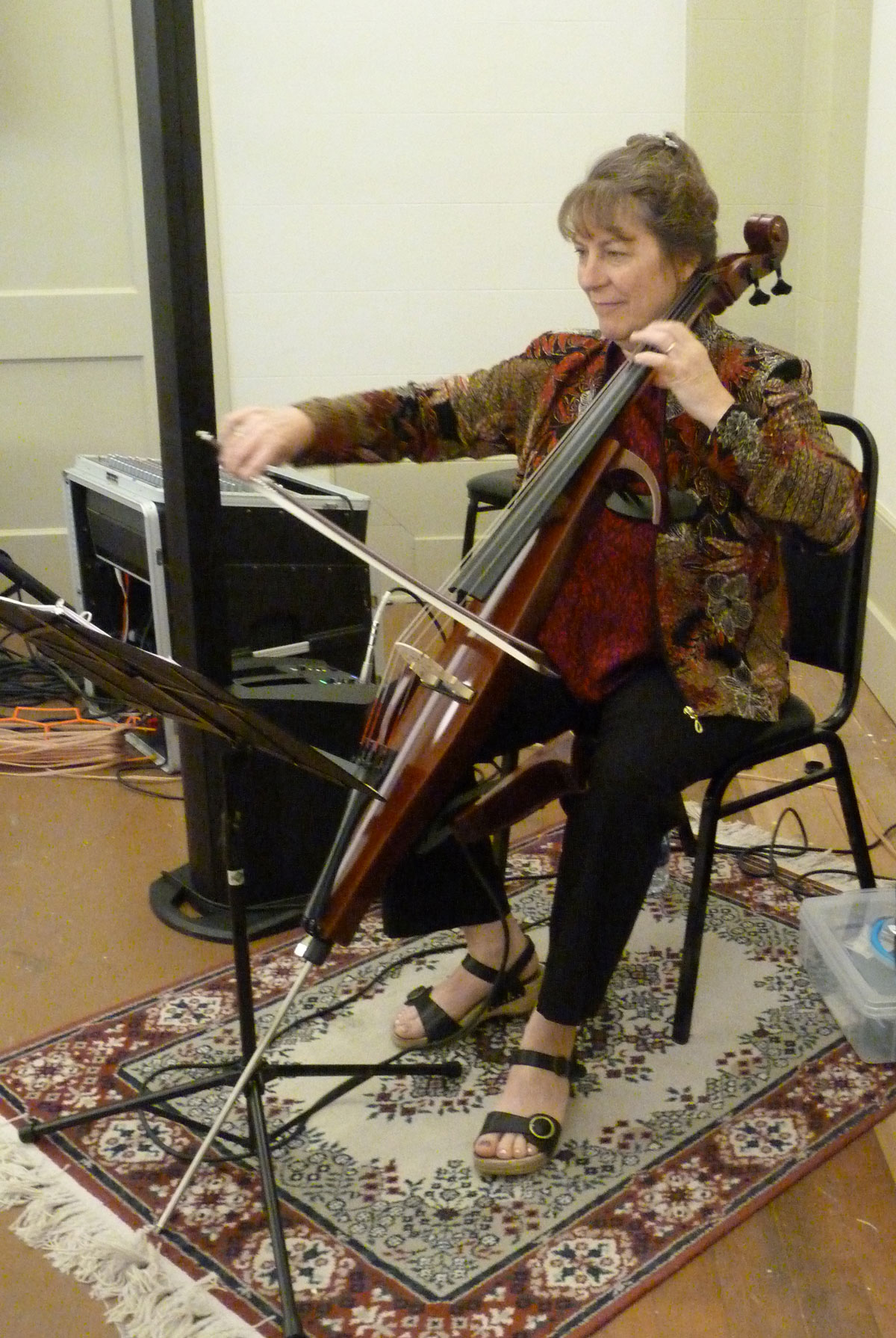 Marlene playing the electric cello